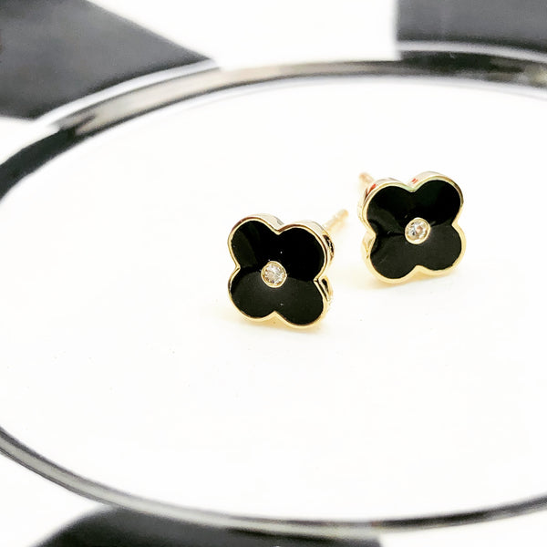 14k Yellow Gold Enamel and Diamond Earrings.
