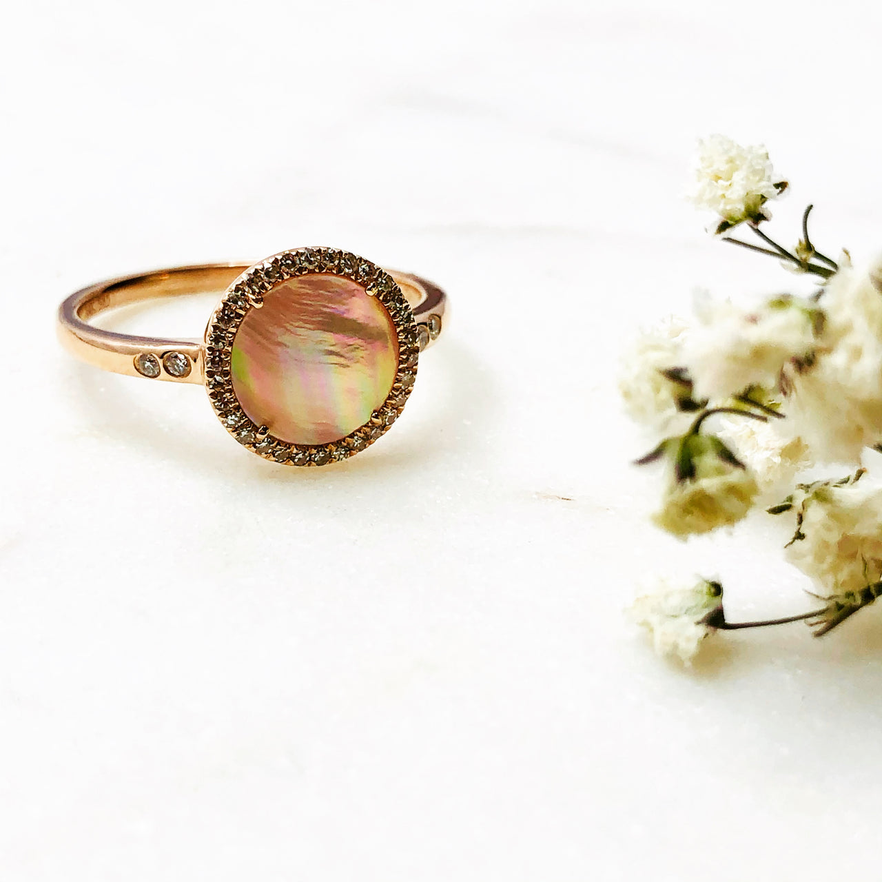 14k Rose Gold Mother of Pearl and Diamond Ring.