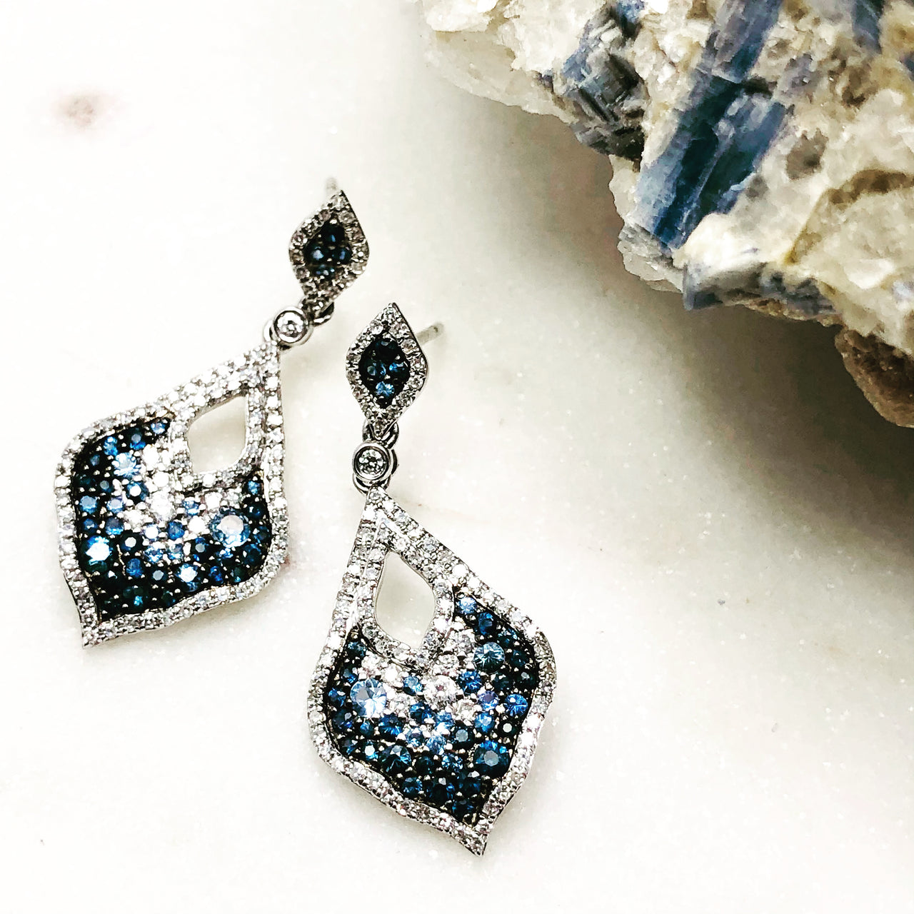 14K White Gold Sapphire and Diamond Earrings.