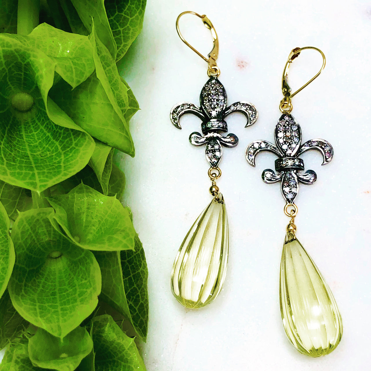 Sterling Silver/14K Yellow Gold Lemon Quartz and Diamond Earrings.