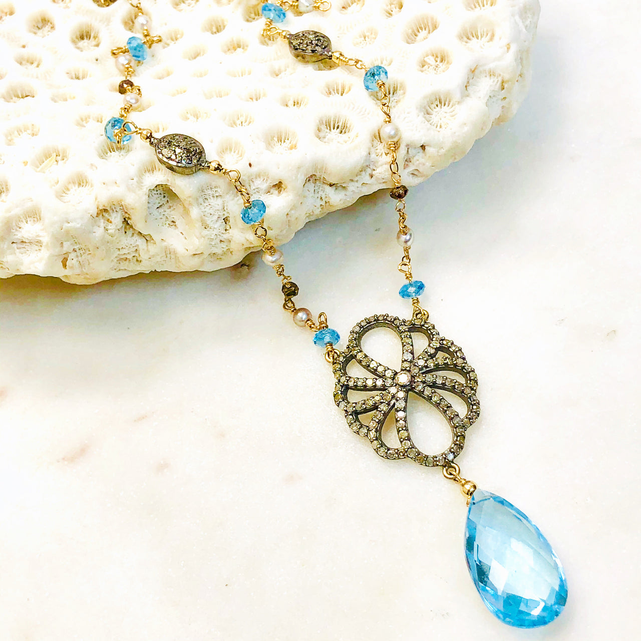 14K Yellow Gold/Sterling Silver Blue Topaz, Diamond and pearl Necklace.