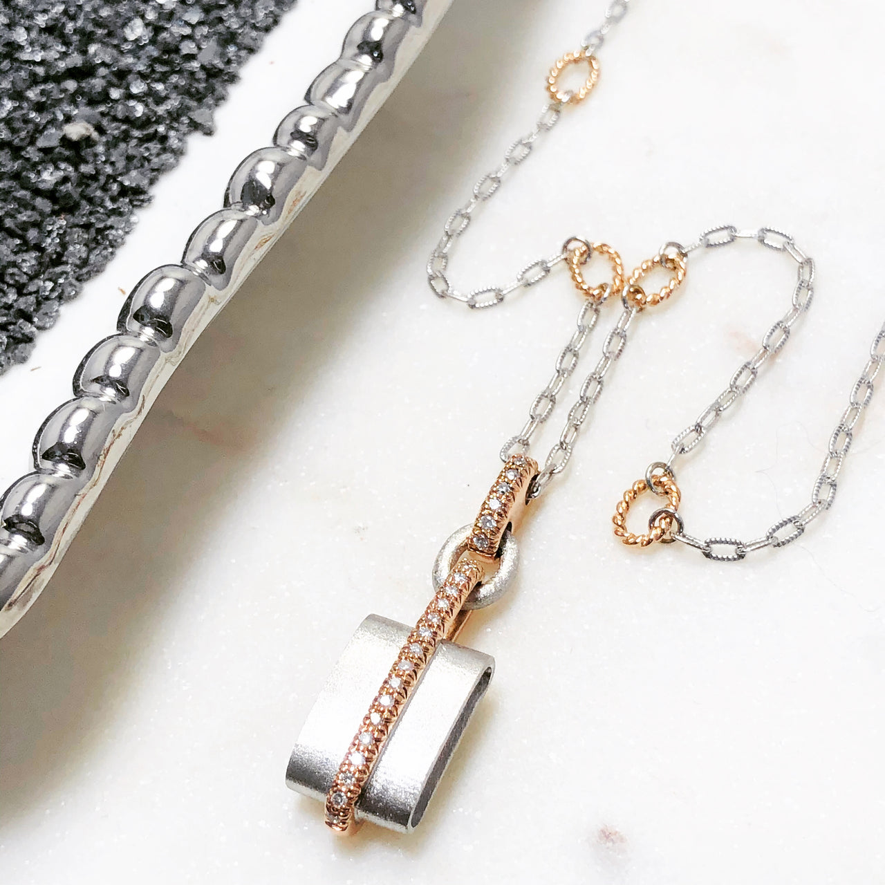 Argentum Silver and 14K Rose Gold Diamond Necklace.