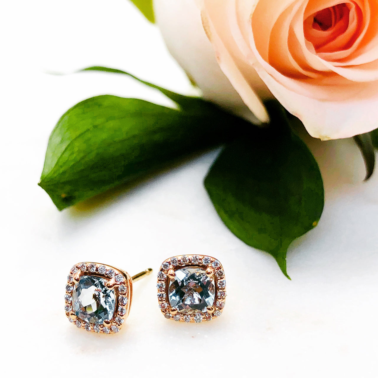 14K Rose Gold Aquamarine and Diamond Earrings.