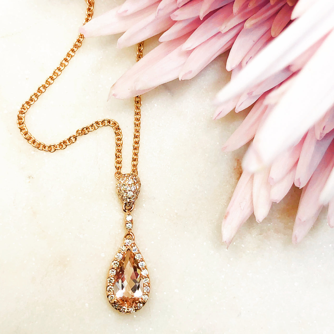 14K Rose Gold Morganite and Diamond Necklace.
