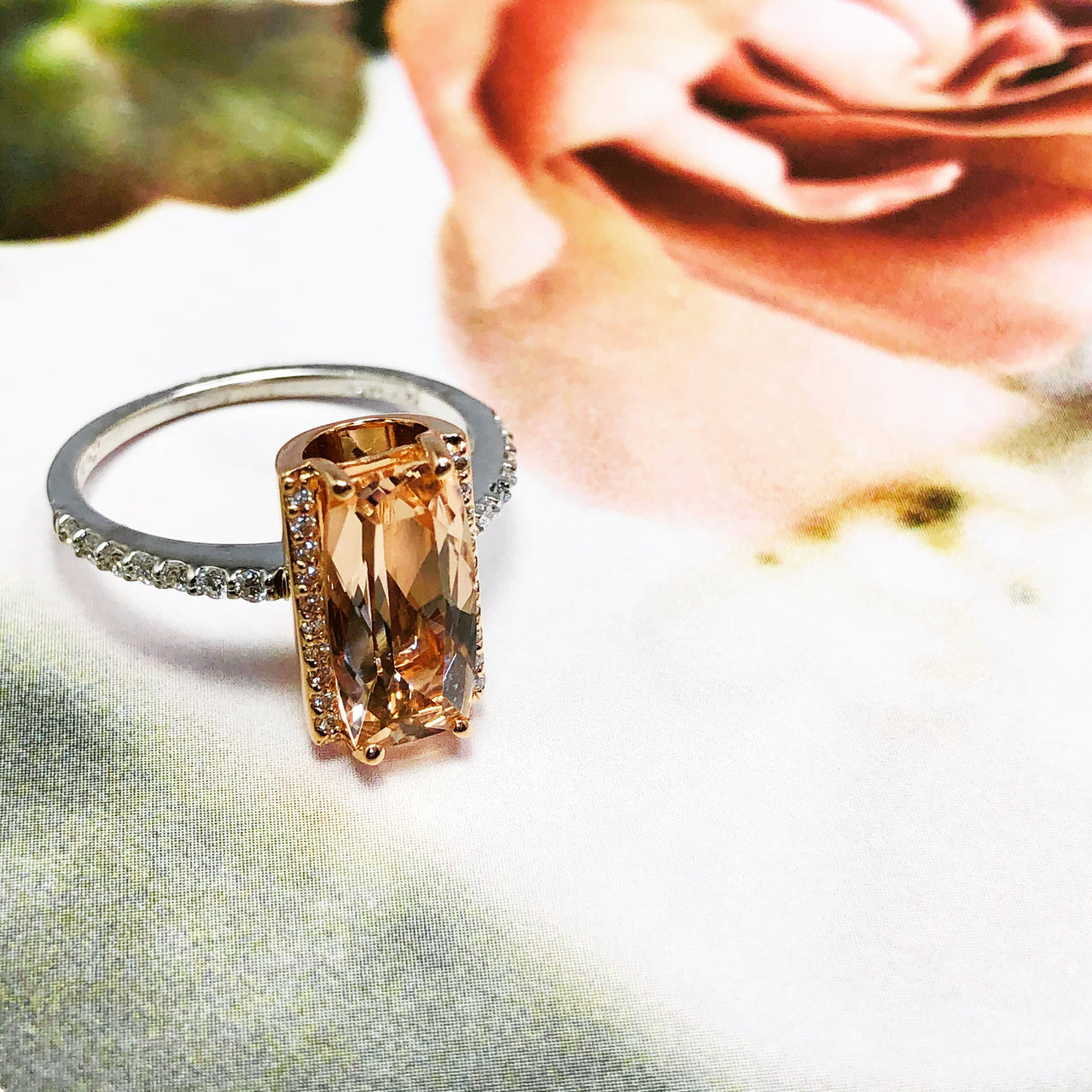 Argentum Silver/14K Rose Gold Morganite and Diamond Ring.