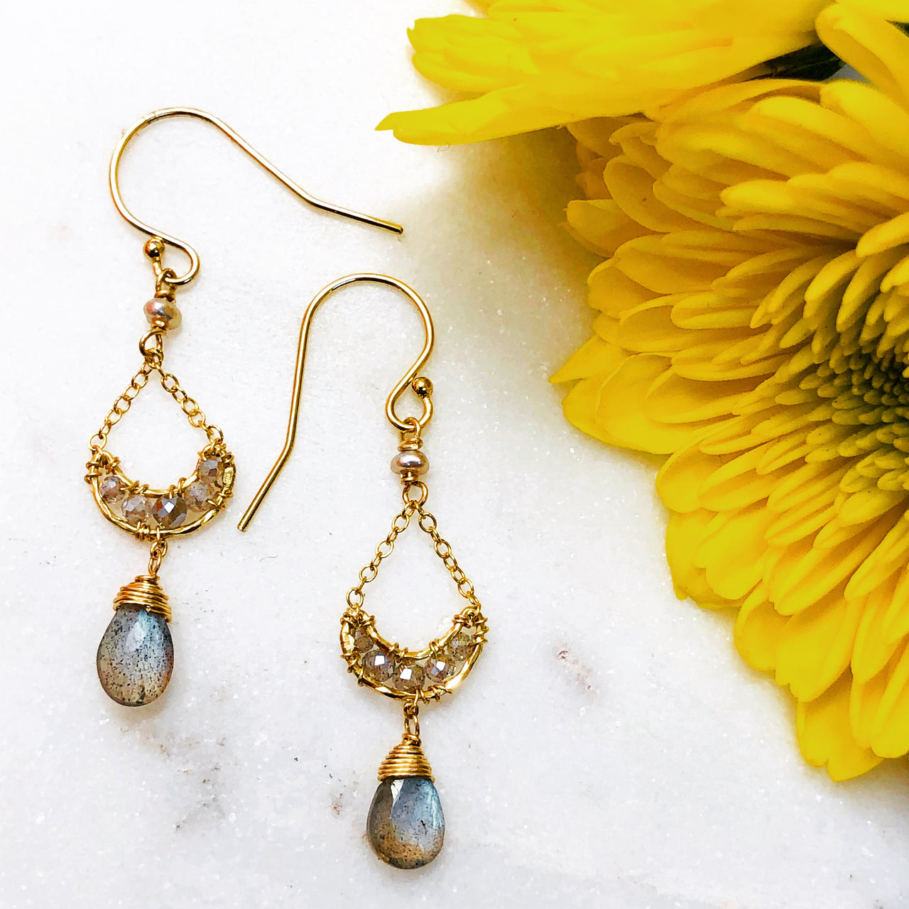Gold Filled /Vermeil Labradorite Earrings.