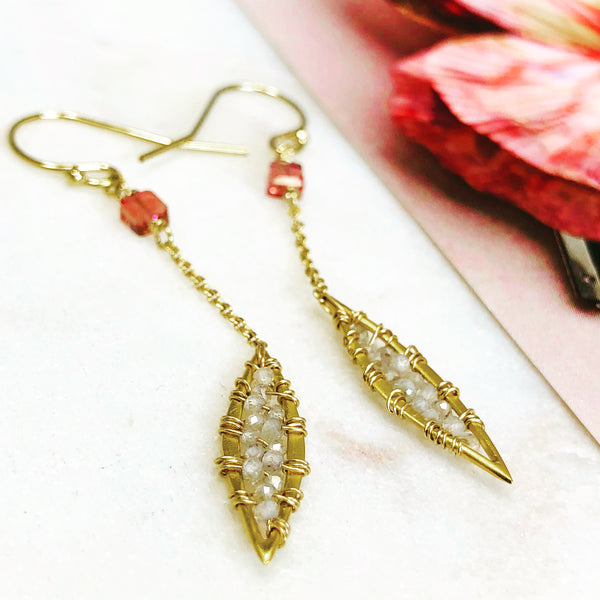 Gold Filled/Vermeil Tourmaline and White Zircon Earrings.