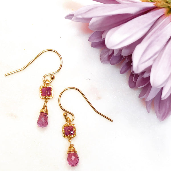 Gold Filled Garnet and Ruby Earrings.
