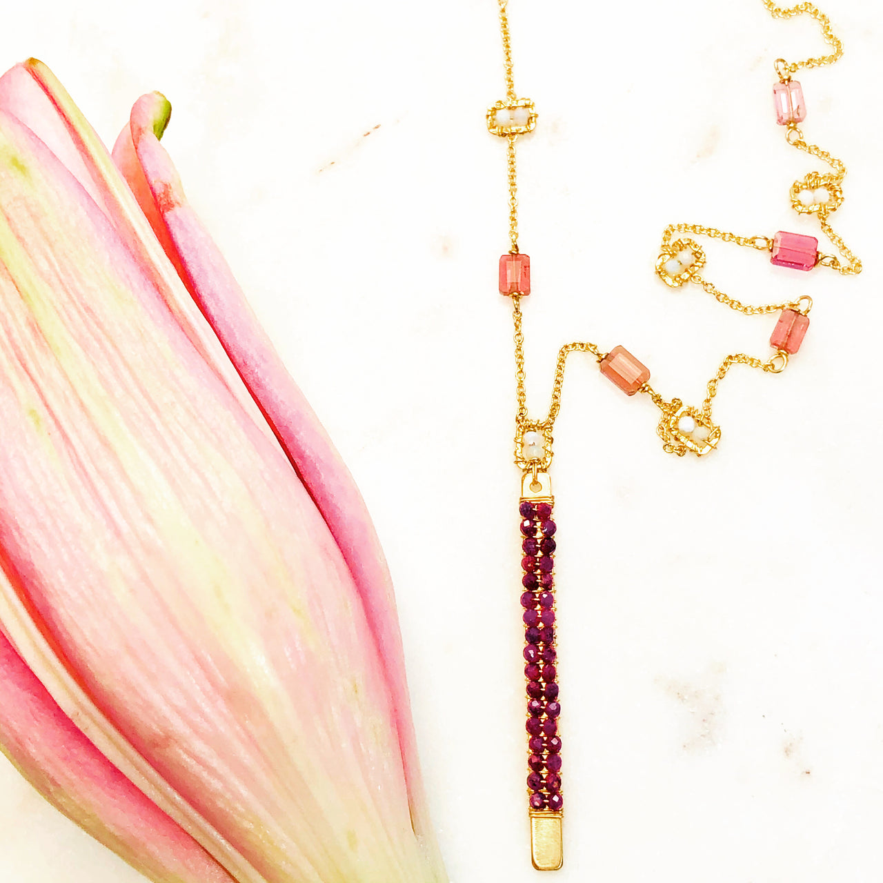 Gold Filled Tourmaline, Opal and Ruby Necklace.