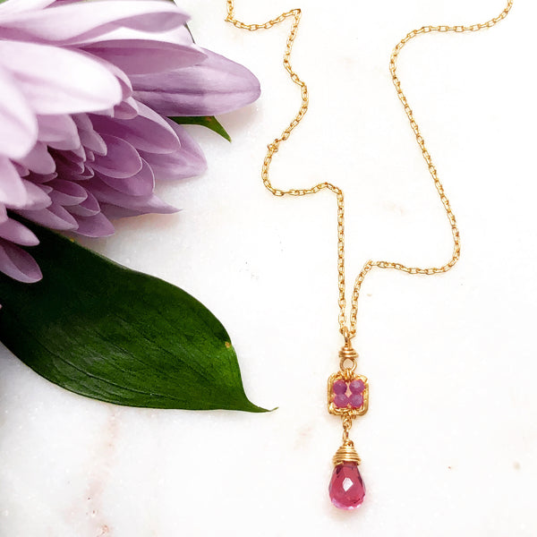 Gold Filled Garnet and Ruby Necklace.
