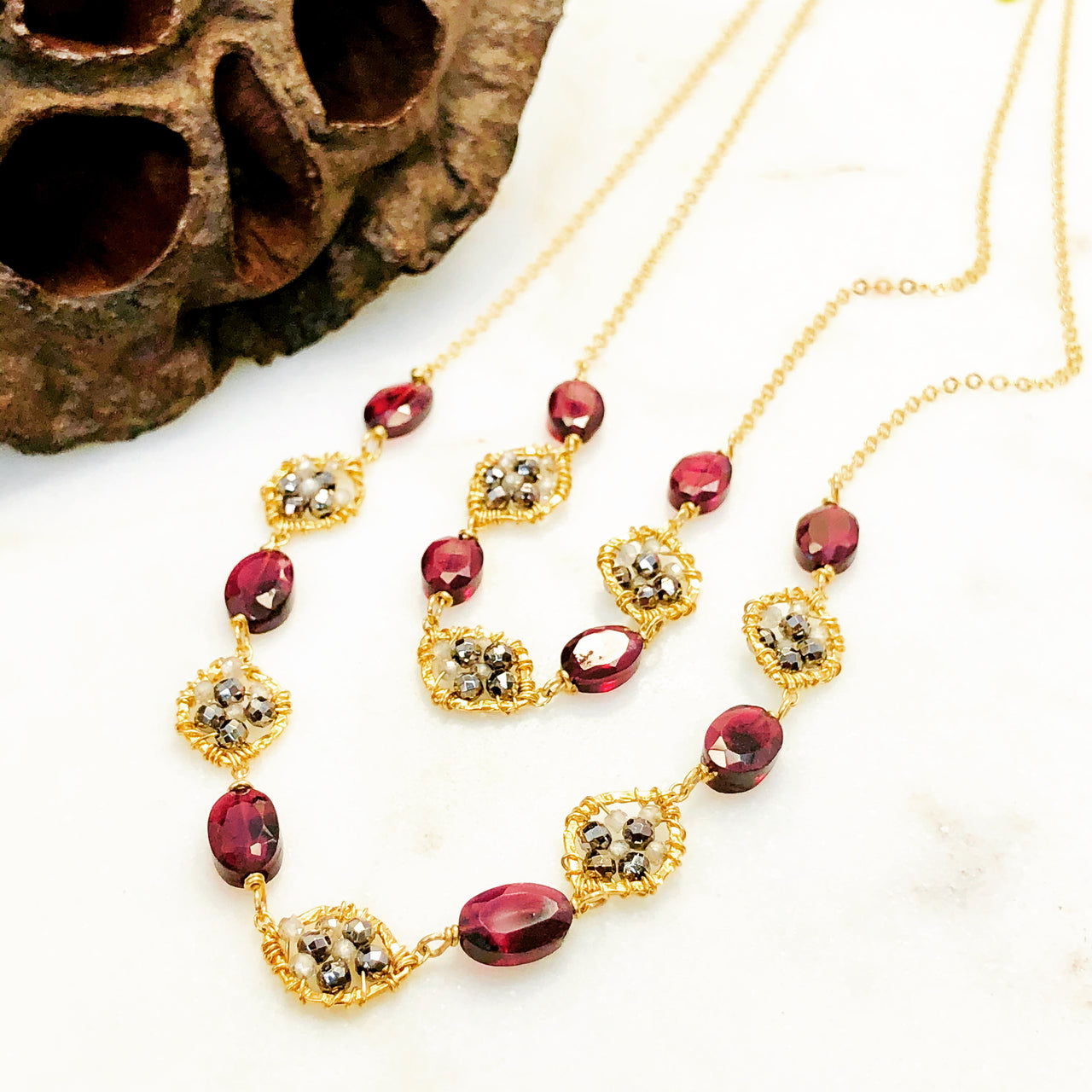 Gold Filled Garnet, Zircon and Pyrite Necklace.