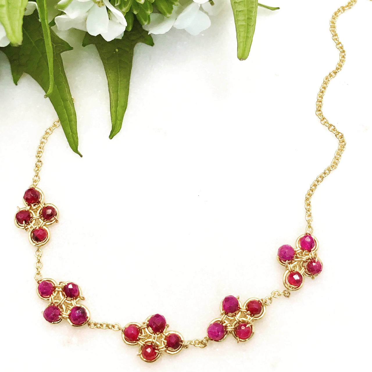 Gold Filled Ruby Necklace.