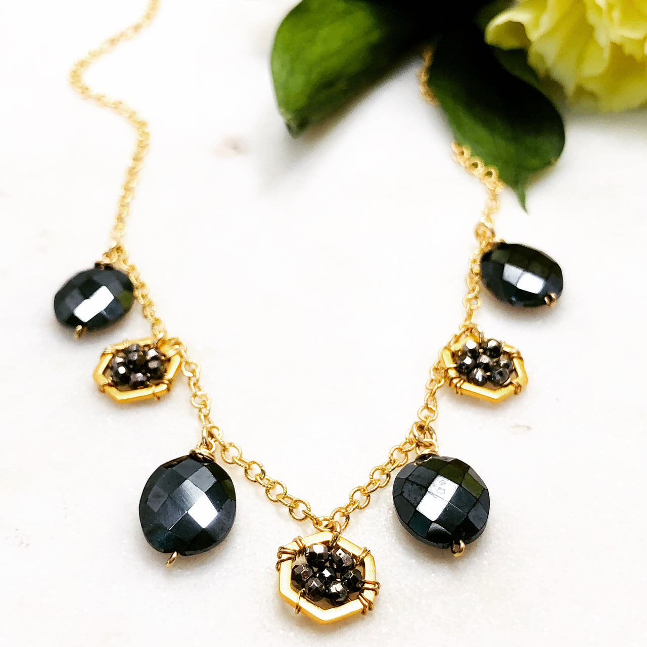 Gold Filled Pyrite and Onyx Necklace.