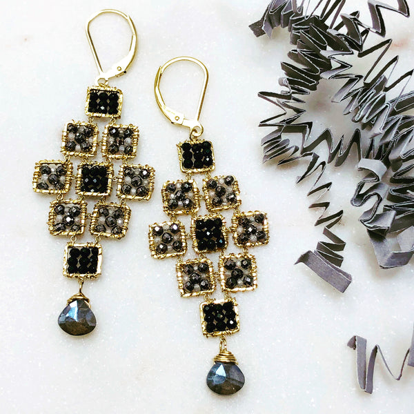 Gold Filled Black Spinel, Multi  Earrings.