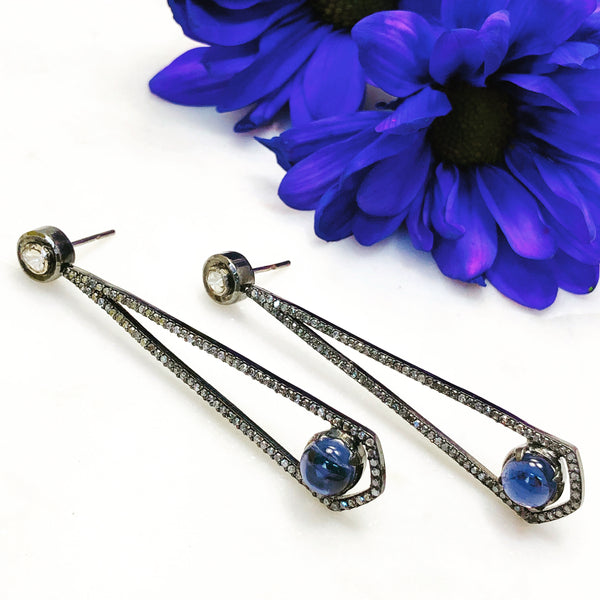 Sterling Silver Iolite and Diamond Earrings.