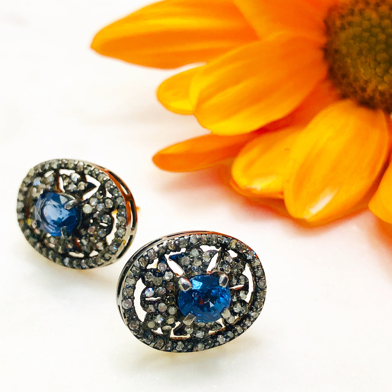 Sterling Silver /14K Yellow Gold Sapphire and Diamond Earrings.