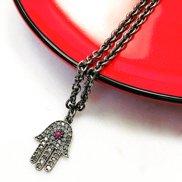 Sterling Silver Ruby and Diamond Pendant.