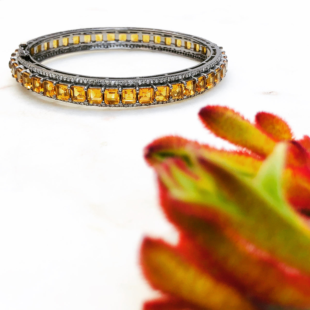 Sterling Silver Citrine and Diamond Bracelet.