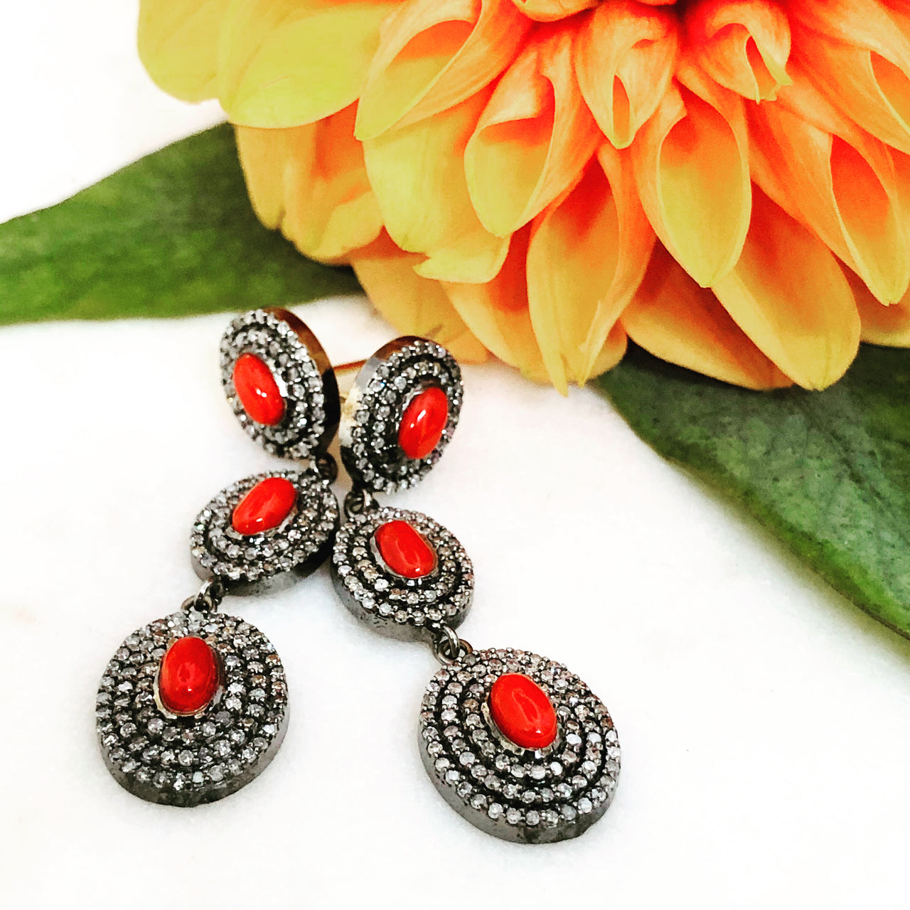 Sterling Silver and 14k Yellow Gold, Coral and Diamond Earrings