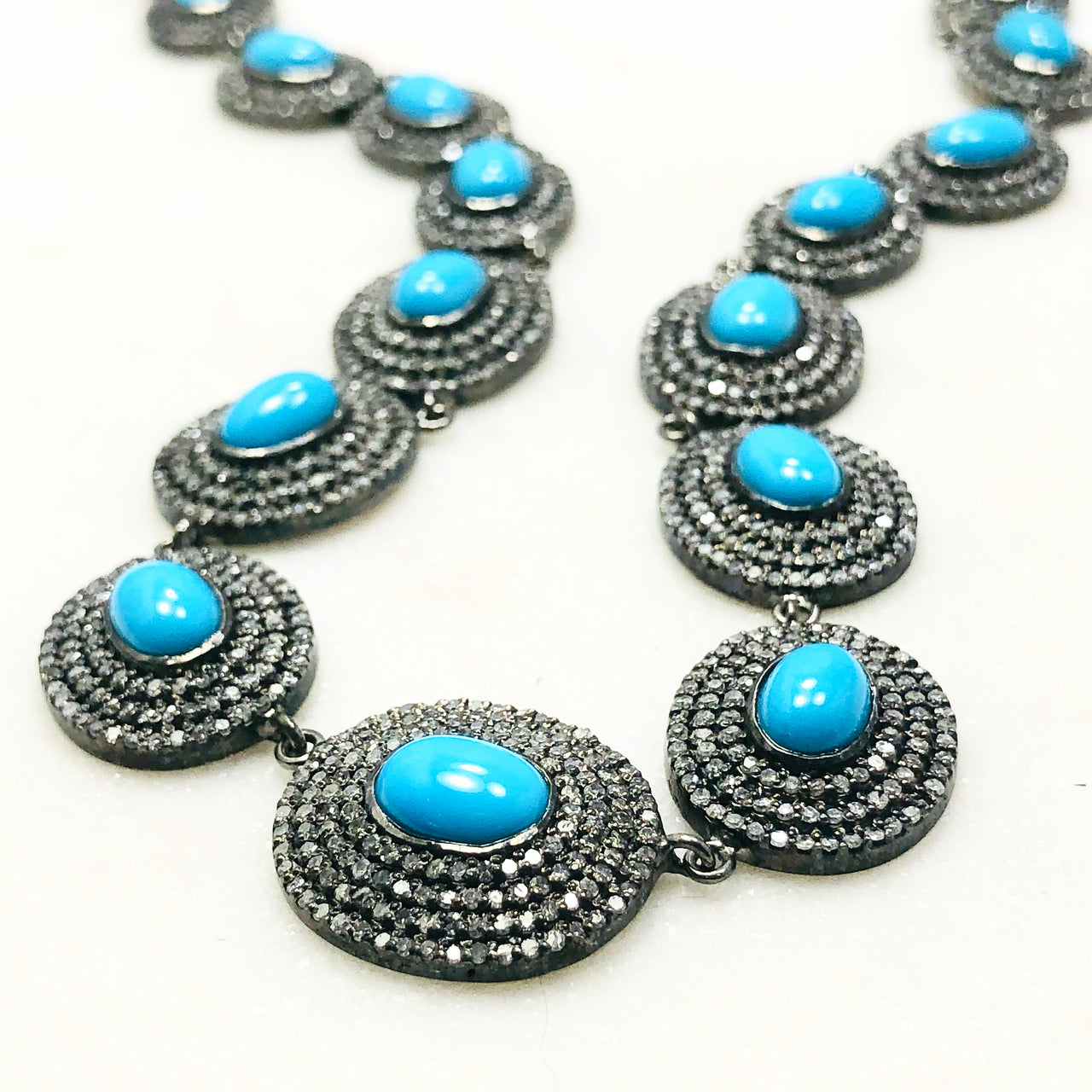 Sterling Silver Turquoise and Diamond Necklace.