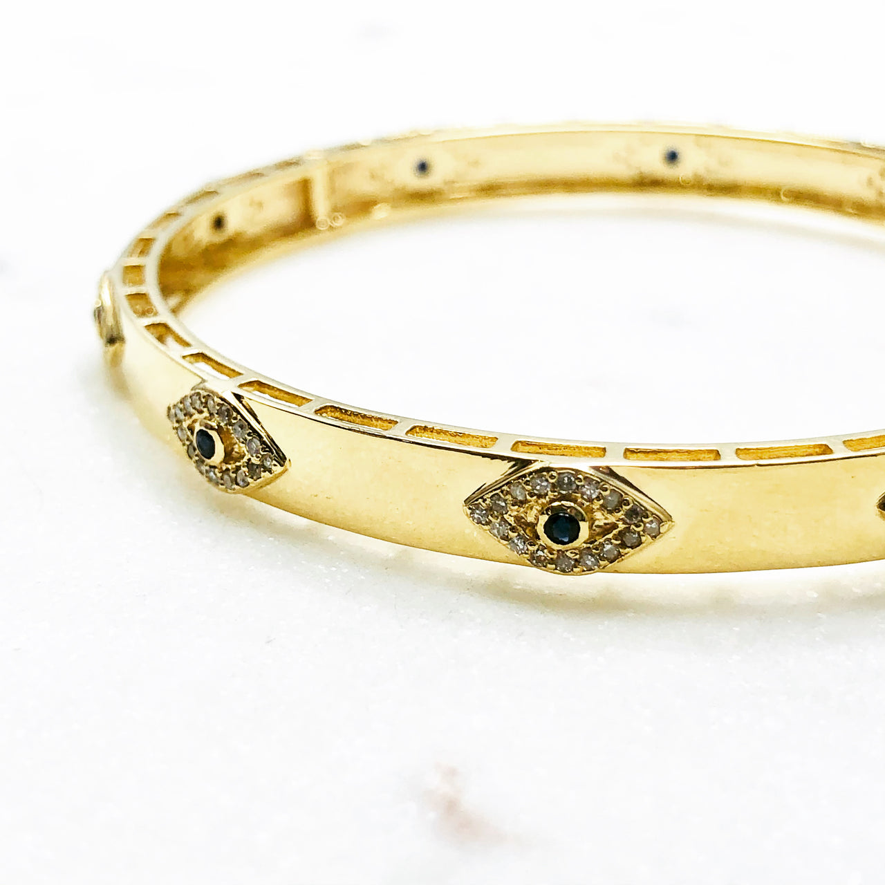 14k Yellow Gold Sapphire and Diamond Bracelet.