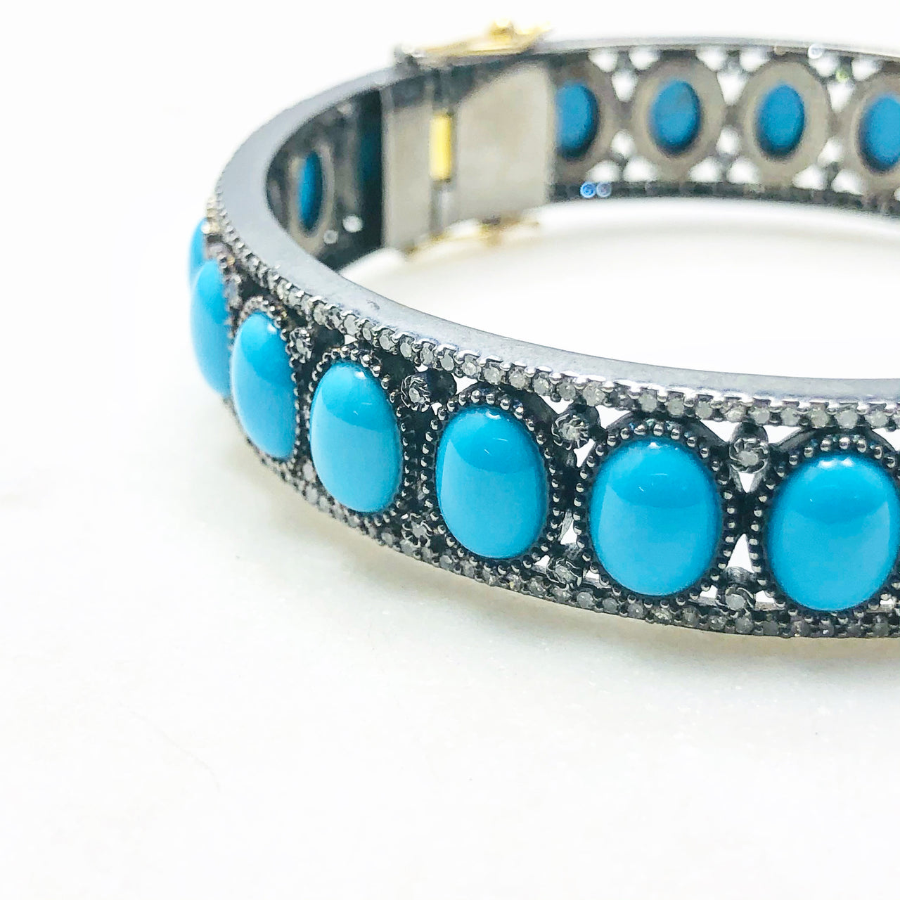 Sterling Silver Turquoise and Diamond Bracelet.