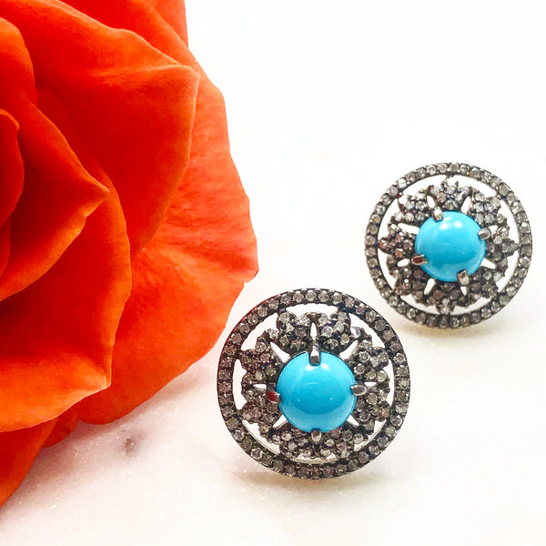 Sterling Silver Turquoise and Diamond Earrings.