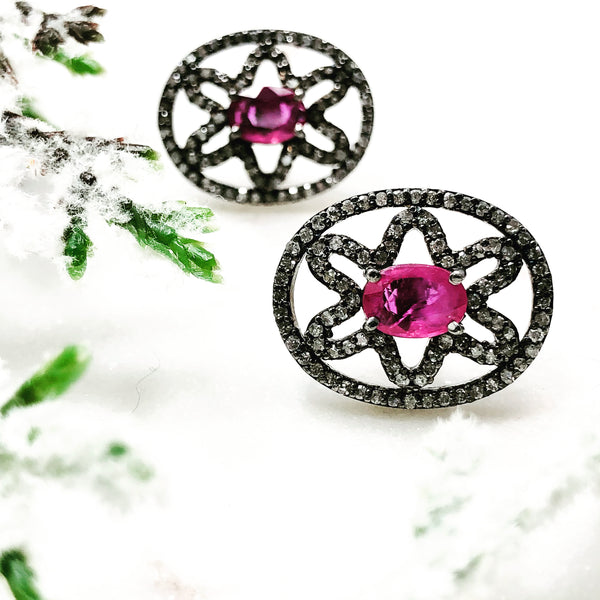 Sterling Silver Ruby and Diamond Earrings.