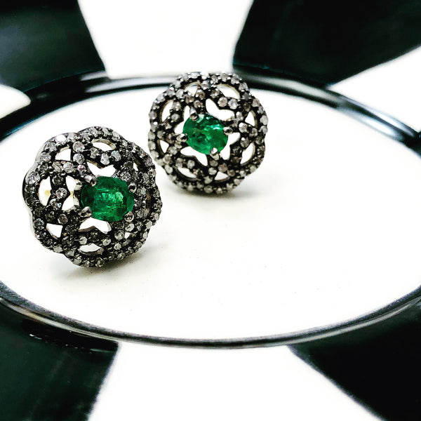 Sterling Silver Emerald and Diamond Earrings.