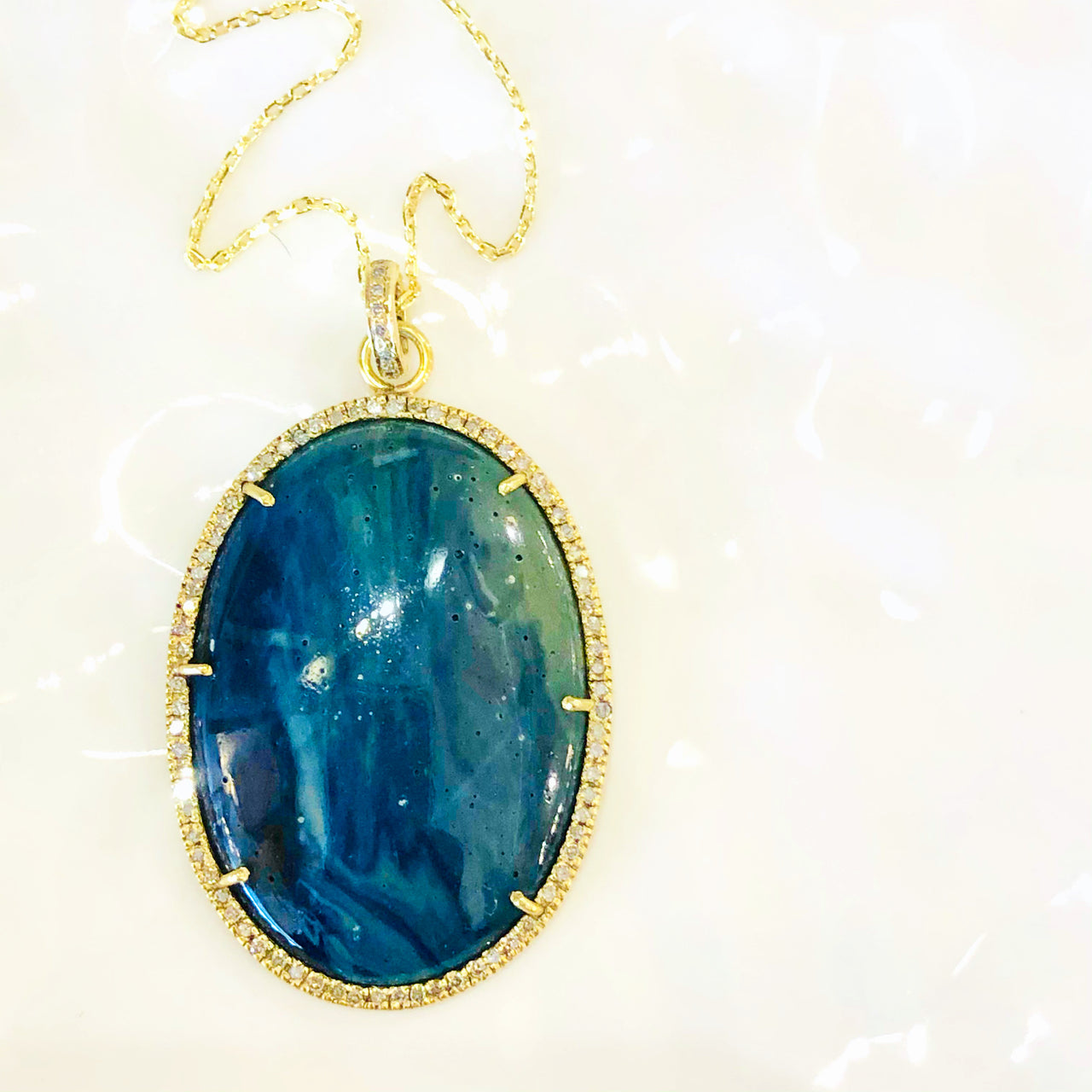 Yellow Gold Plate Sapphire and Diamond Pendant.