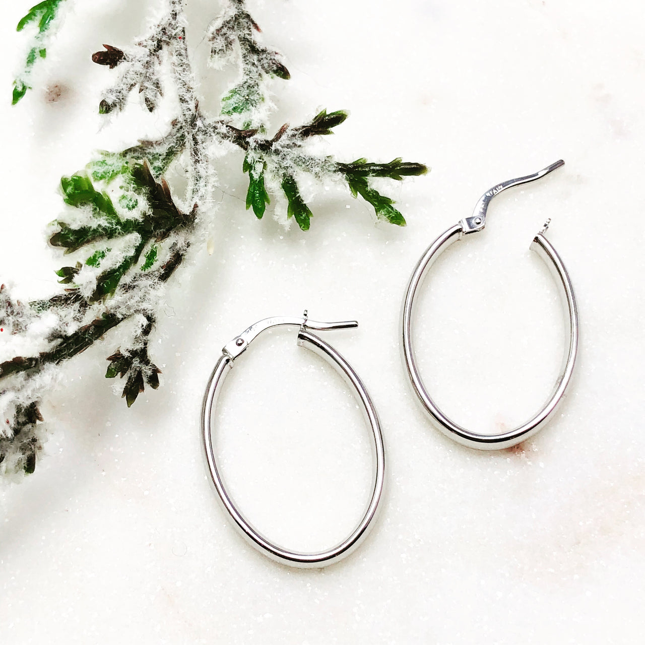 14k White Gold Earrings.