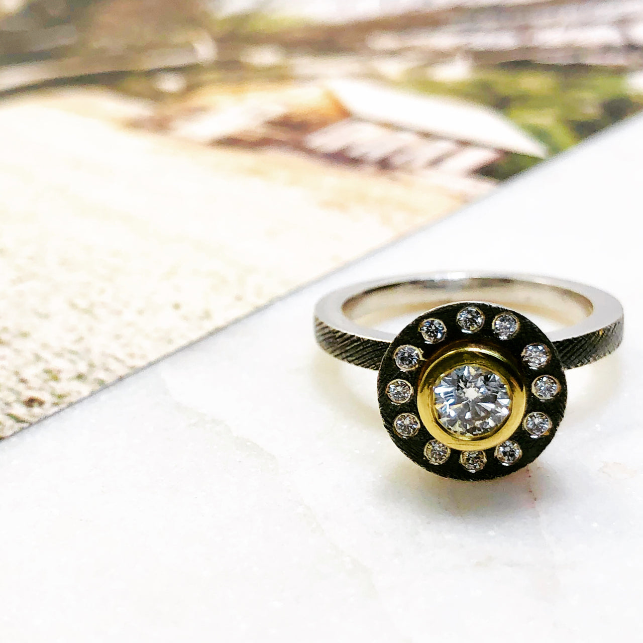 Sterling Silver and 18K Yellow Gold Diamond Ring.