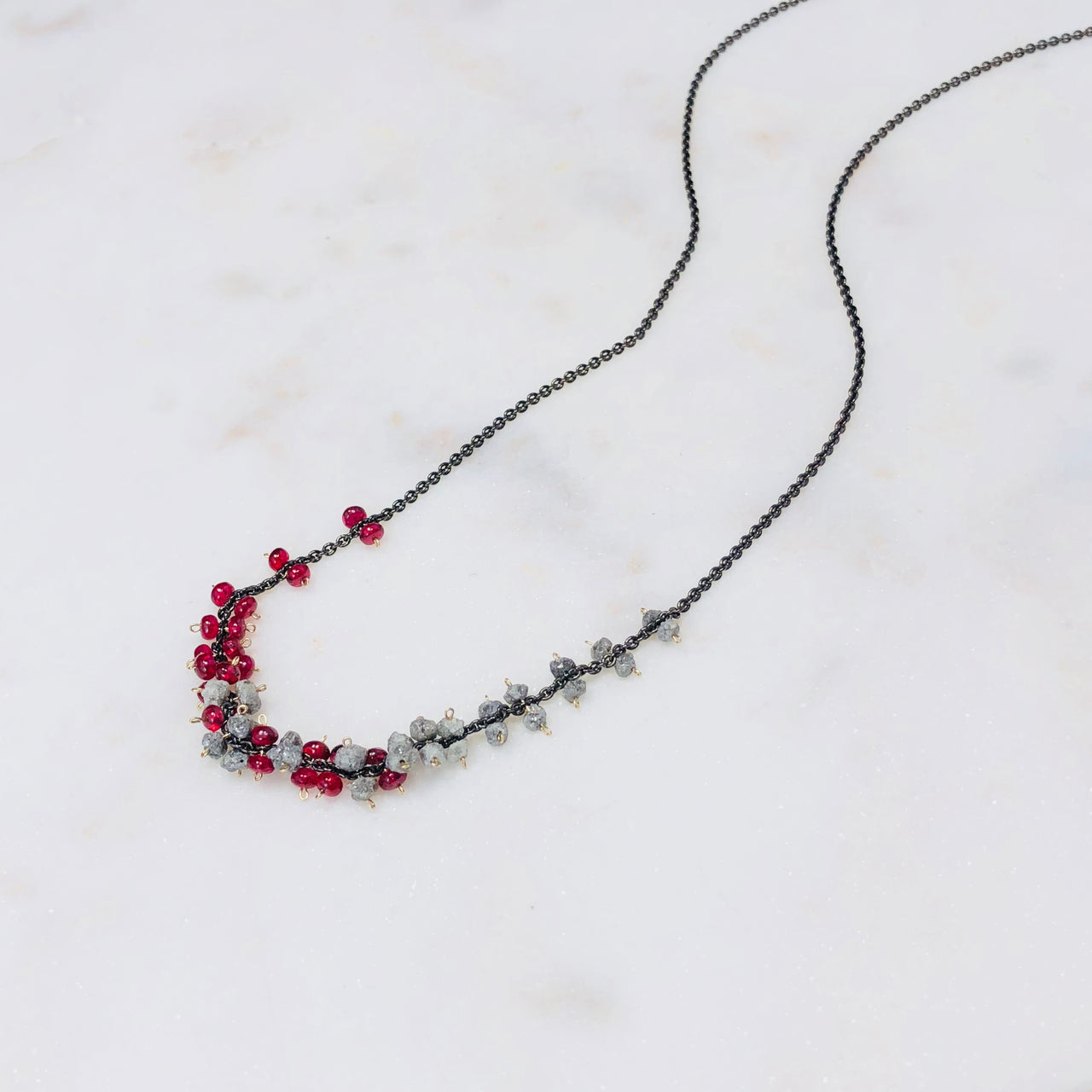 Sterling Silver Natural Diamond and Red Spinel Necklace.