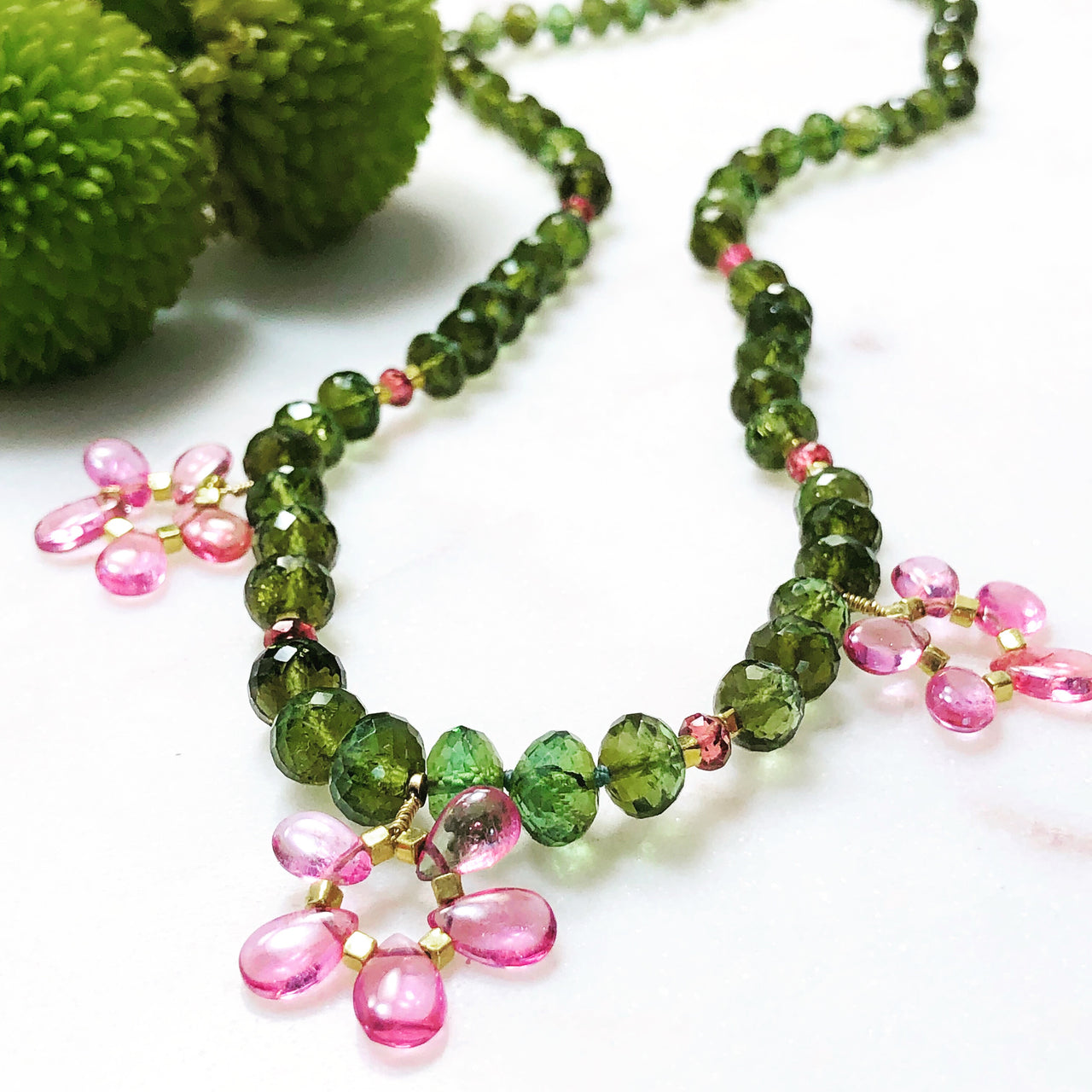 Pink and Green Tourmaline Necklace.