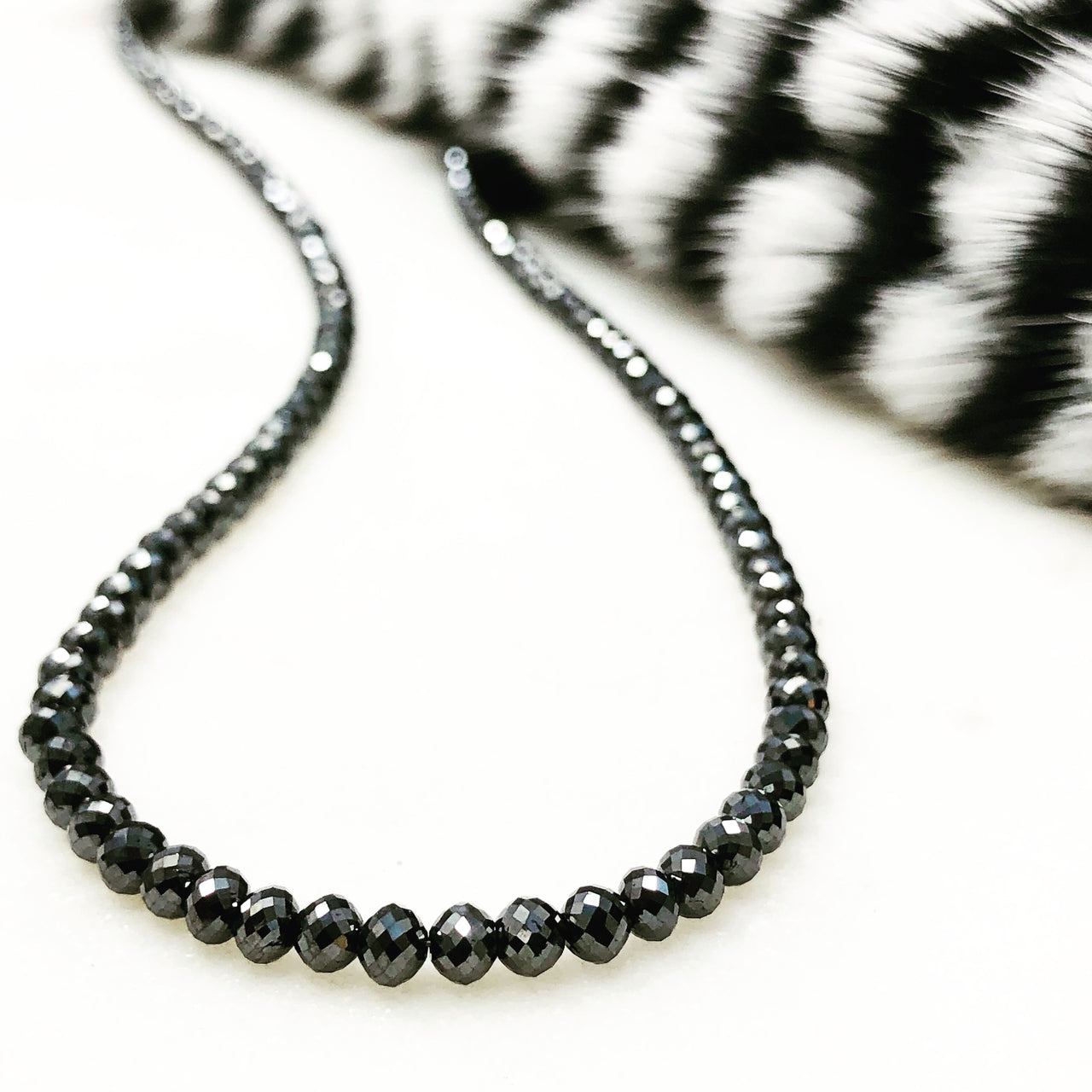 14k White Gold Black Diamond Necklace.