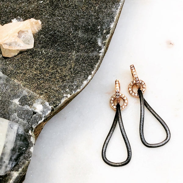 Argentum Silver and 14k Rose Gold Diamond Earrings.