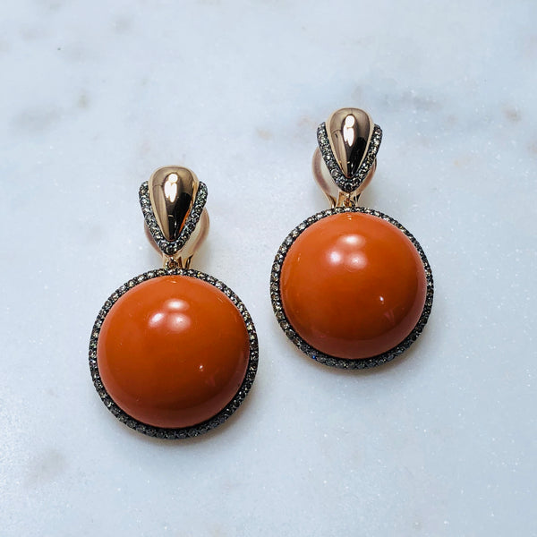 18K Rose Gold Coral & Diamond Earrings.