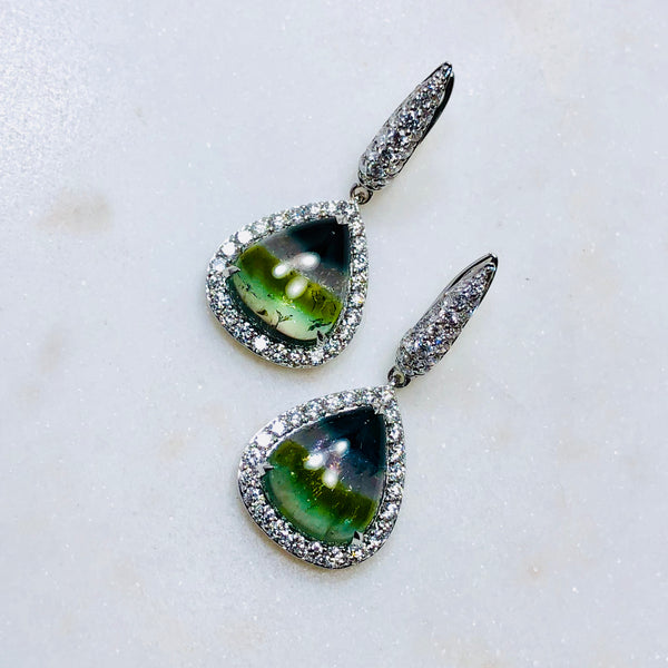 18K White Gold Tourmaline & Diamond Earrings.