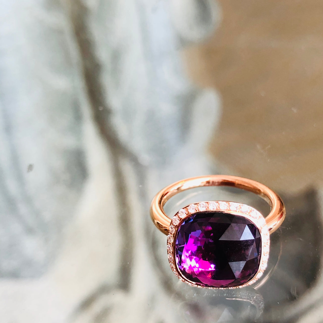 18K Rose Gold Amethyst and Diamond Ring.