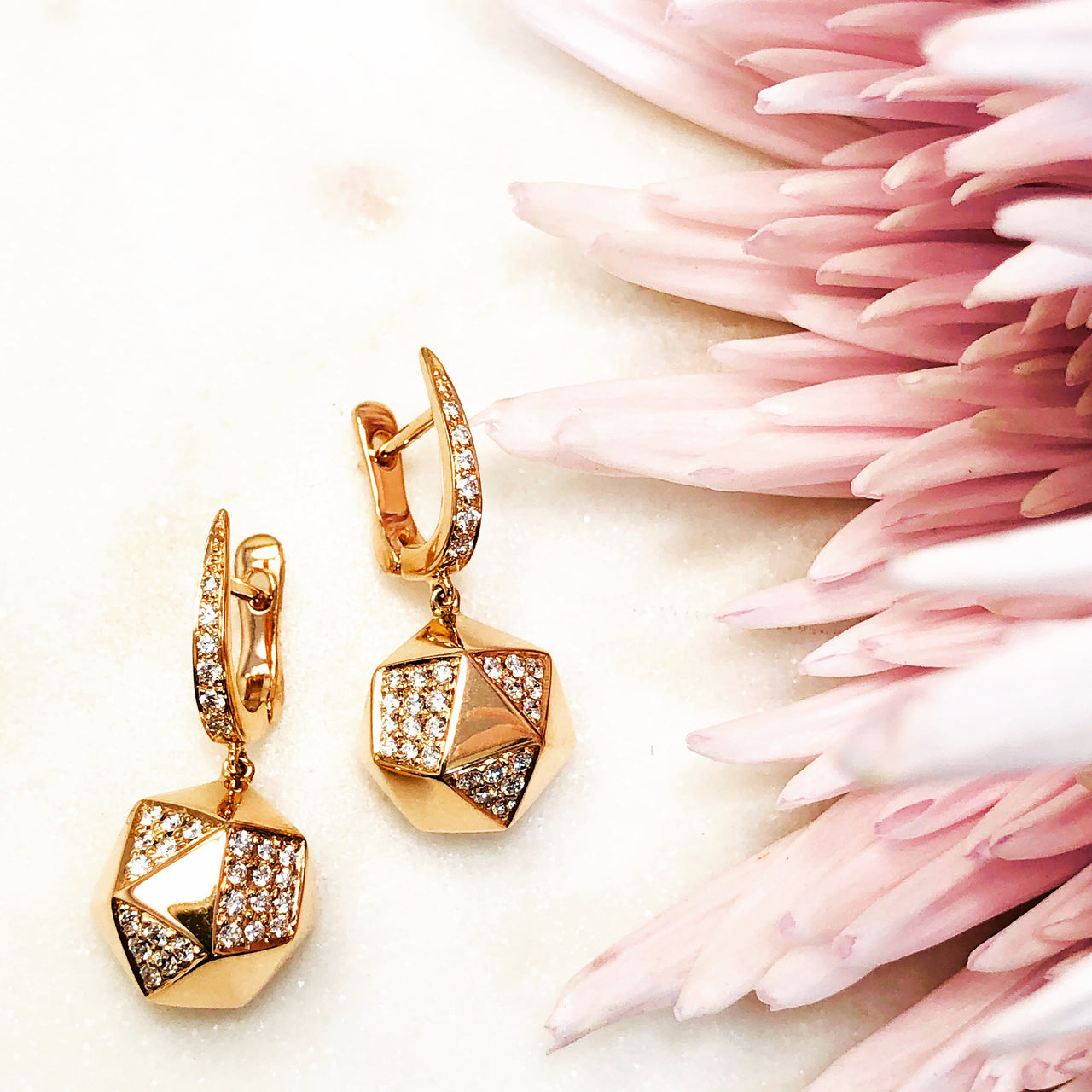 18K Rose Gold Diamond Earrings.