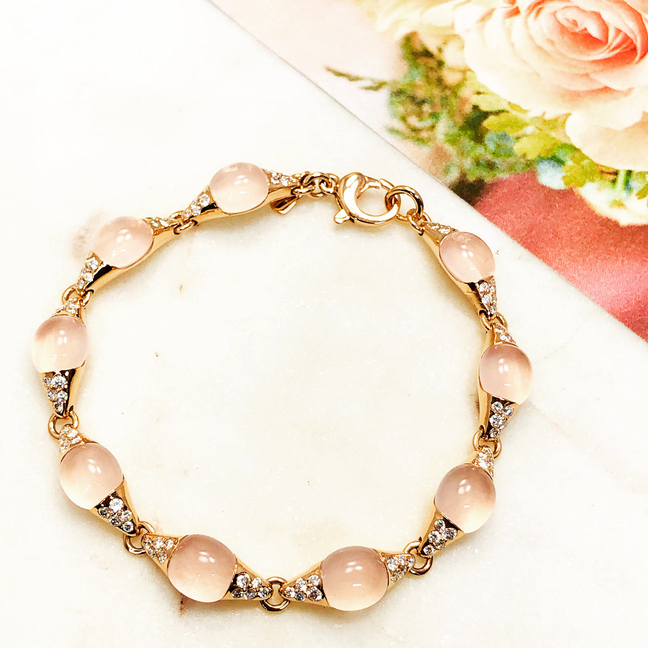 18K Rose Gold Rose Quartz and Diamond Bracelet.