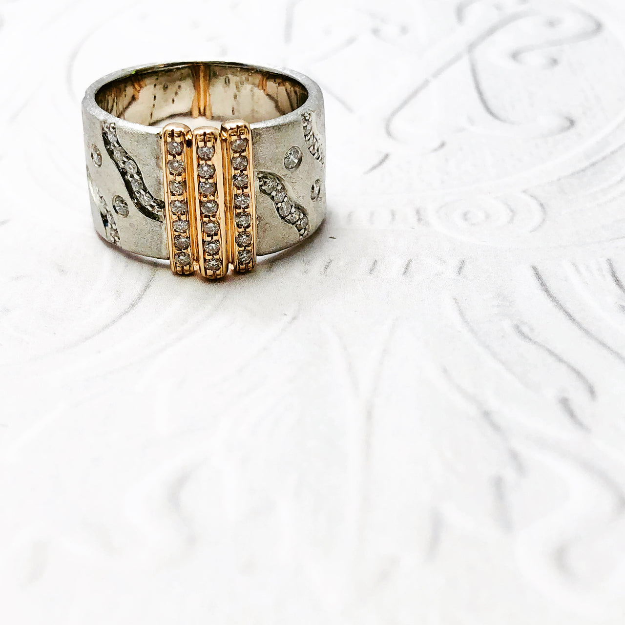 Argentum Silver and 14k Rose Gold Diamond Ring.