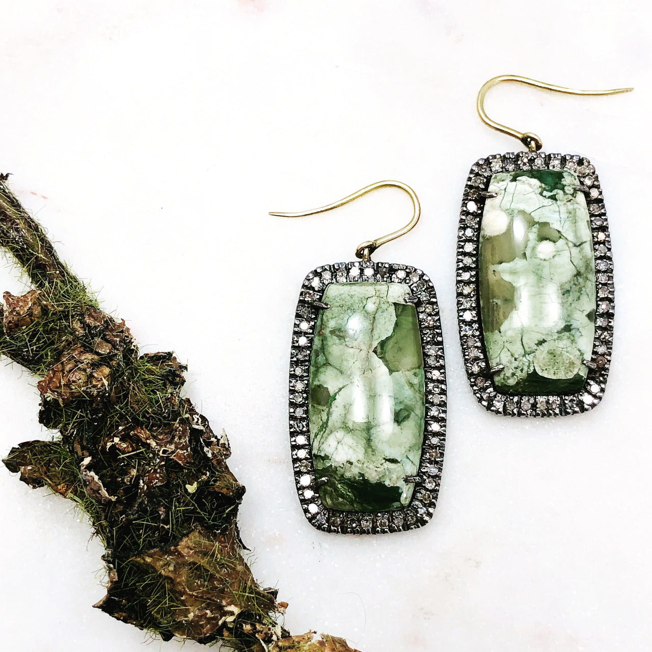 Sterling Silver /14k Yellow Gold Rhyolite and Diamond Earrings.
