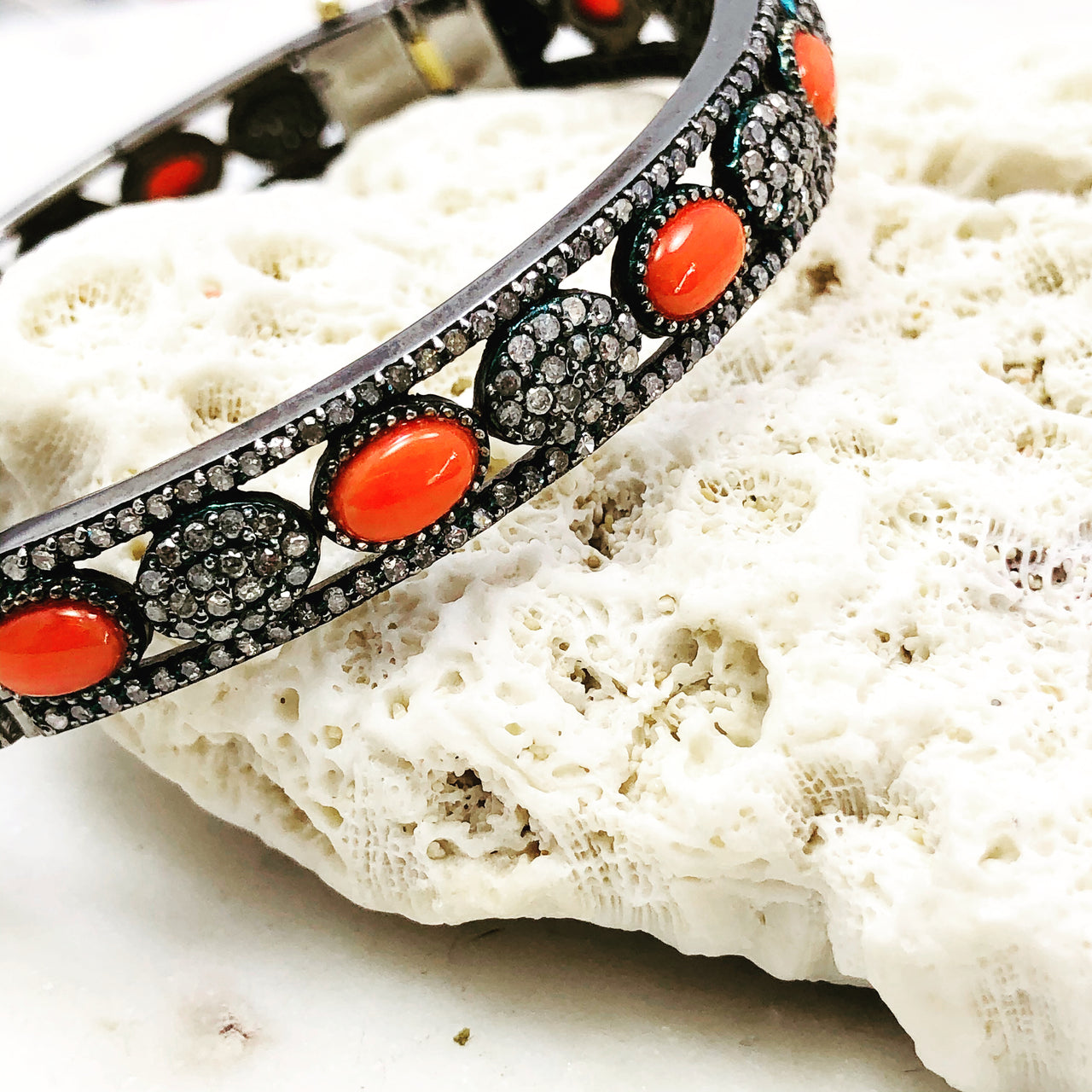 Sterling Silver/14k Yellow Gold Coral and Diamond Bracelet.