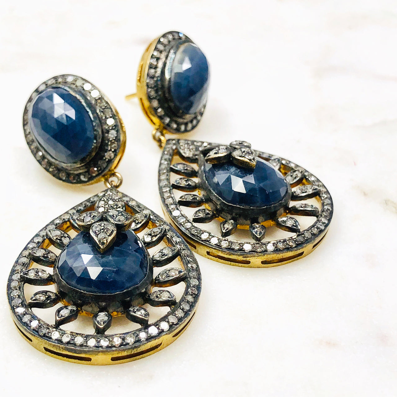 Sterling Silver/14k Yellow Gold Sapphire and Diamond Earrings.