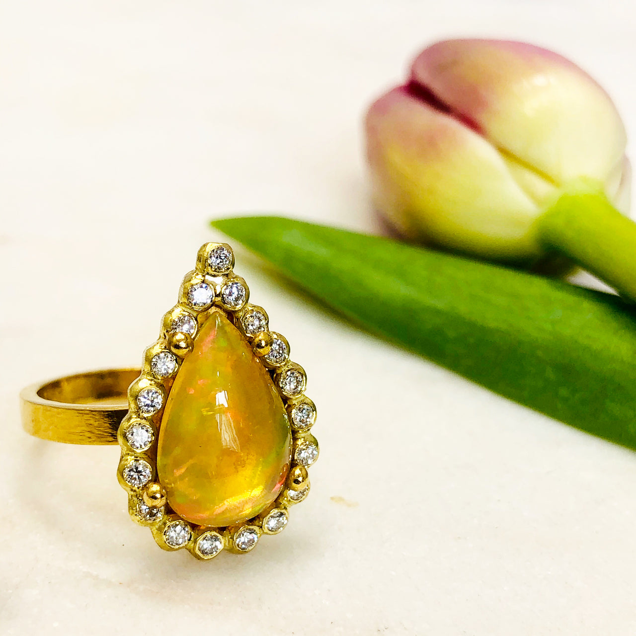 22K Yellow Gold Ethiopean Opal and Diamond Ring.