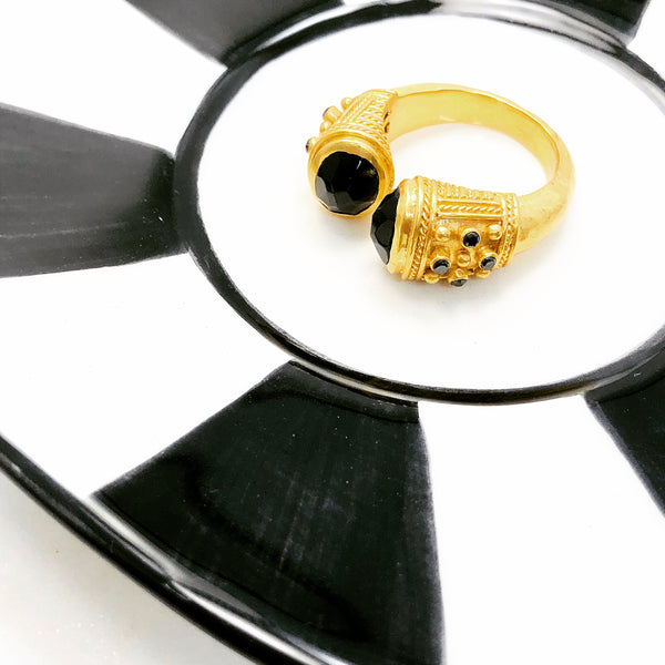 Gold Plate Black Obsidian Ring.