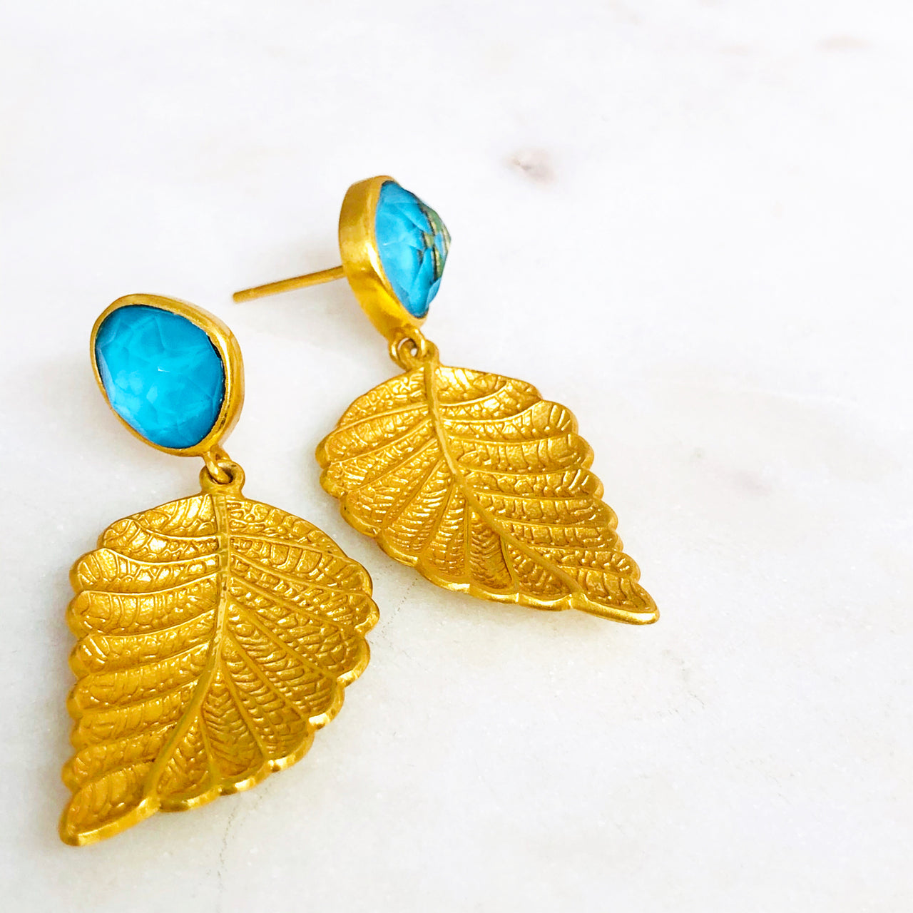 Gold Plate Turquoise and Quartz Earrings.