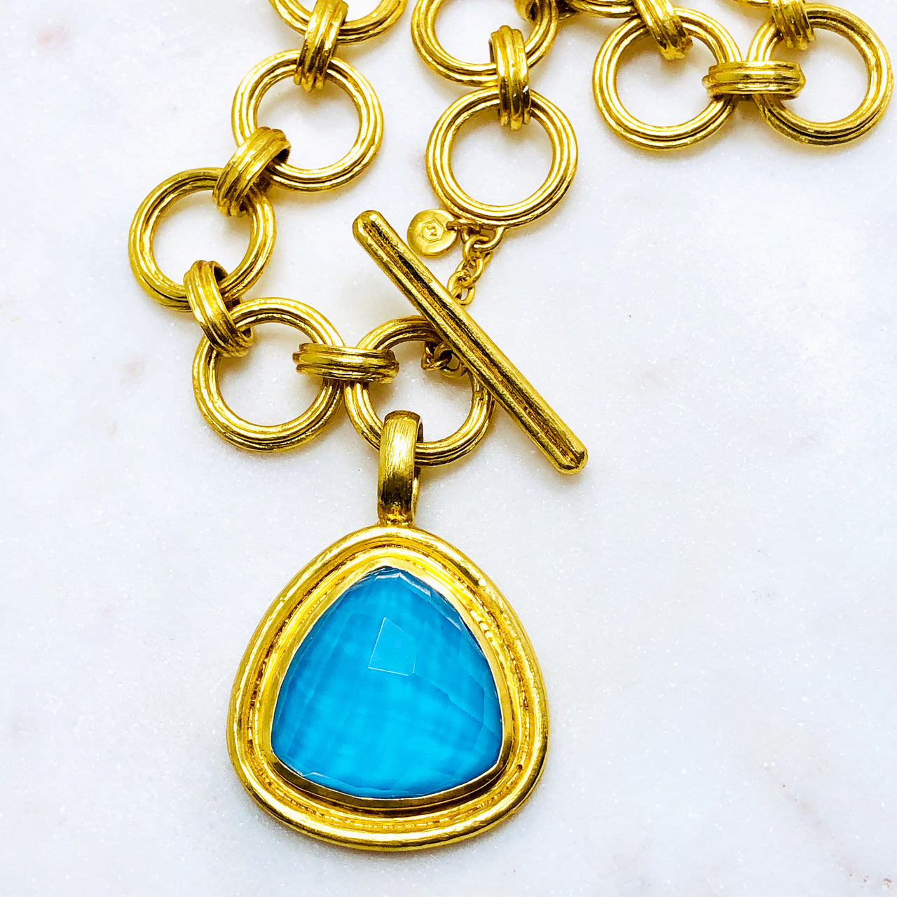 Gold Plated Turquoise and Quartz Necklace.