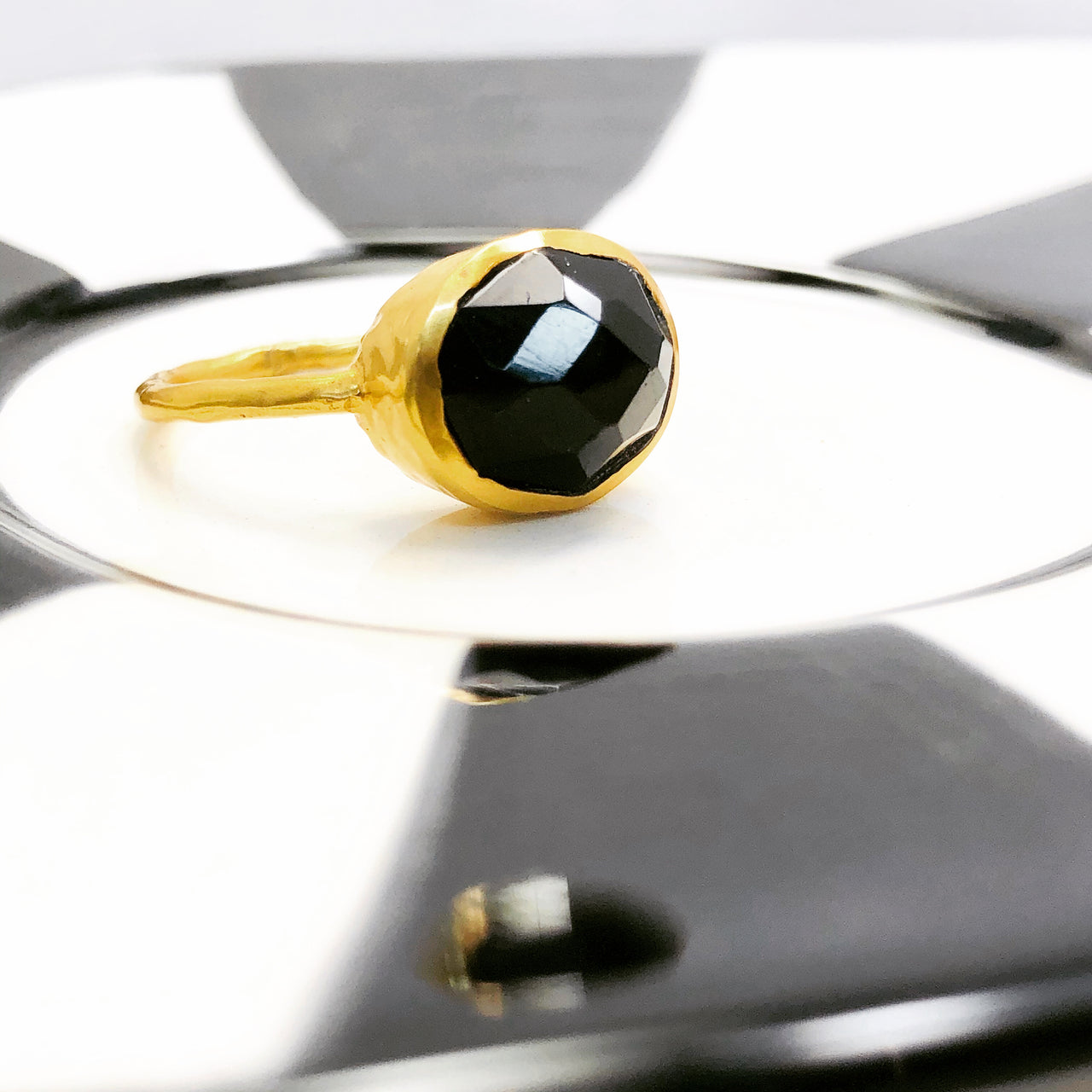 Gold Plated Black Obsidian Ring.